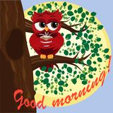 Cute beautiful flirtatious red owl on a branch with a cup of steaming coffee, tea or chocolate. Inscription Good morning royalty free illustration