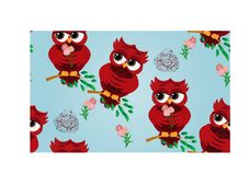 Cute beautiful flirtatious red owl on a branch with a cup of steaming coffee, tea or chocolate. Seamless pattern Cute beautiful flirtatious red owl on a branch stock illustration