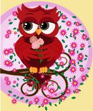 Cute beautiful flirtatious red owl on a branch with a cup of steaming coffee, tea or chocolate. Cute beautiful flirtatious red owl on a branch royalty free illustration