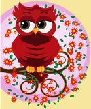 Cute beautiful flirtatious red owl on a branch with a cup of steaming coffee, tea or chocolate. Cute beautiful flirtatious red owl on a branch vector illustration