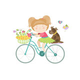 Cute beautiful girl in dress rides a bike Royalty Free Stock Photography