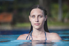 Beautiful girl in the swiming pool Stock Photos
