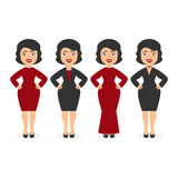 Cute beautiful girls ladies in elegant dresses. The festive event corporate. Cartoon character in flat style. Vector. Cartoon character in flat style. Cute Royalty Free Stock Images