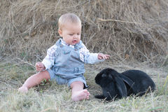 Cute beautiful laughing teen girl on grass with white. And black baby rabbit. Selective focus Stock Photos