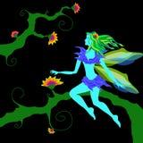 Cute beautiful magic fairy sitting on the tree Stock Photo