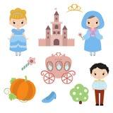 Cute beautiful princess. Cinderella vector illustration on white background Stock Photo