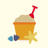 Cute beautiful Sand pail isolated on yellow Stock Photo