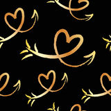 Cute beautiful seamless pattern with hand drawn sketch hearts and arrows. Background, textile, texture, fabric. Royalty Free Stock Images