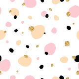 Cute Beautiful Seamless Pattern With Hand Drawn Sketch Splash With Gold Glitter Texture. Background, Textile, Texture, Fabric. Stock Images