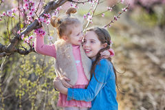 Cute beautiful stylish dressed brunette and blond girls sisters standing on a field of spring young peach tree with pink Stock Image