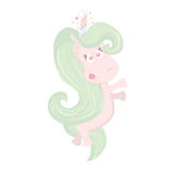 Cute beautiful Unicorn isolated on white. Magic unicorn icon. Hand drawn unicorn is perfect for t-shirt design, fabric, textile. Stock Photos