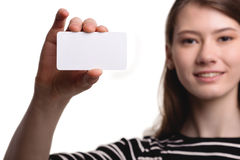 Cute Beautiful Woman Showing Blank Business Card Stock Image Royalty Free Stock Photography