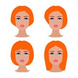 Cute beautiful young girls face with various hair style. Ginger women. Set of avatars. Vector collection.  Stock Image