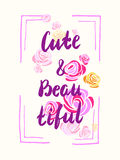 Cute and beautifyl  slogan, poster for t-shirts Royalty Free Stock Image