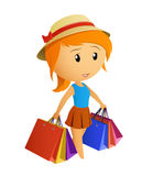 Cute beauty girl in the cap with shopping bags Royalty Free Stock Photography