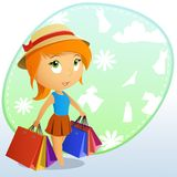 Cute beauty girl in the cap with shopping bags Stock Photo
