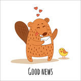A cute beaver with a letter and a little yellow bird. Royalty Free Stock Photography