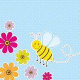Cute bee. With flower over blue background. vector illustration royalty free illustration