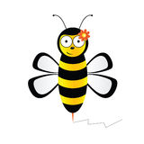 Cute bee in black and yellow color illustration. On white Royalty Free Stock Photo