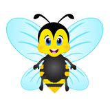 Cute Bee Cartoon with blue wing Stock Images