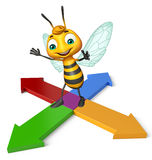Cute Bee cartoon character with arrow Royalty Free Stock Image