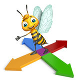 Cute Bee cartoon character with arrow Stock Image