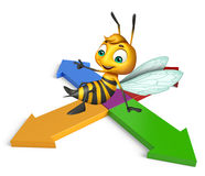 Cute Bee cartoon character with arrow. 3d rendered illustration of Bee cartoon character with arrow Royalty Free Stock Photos