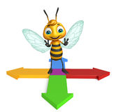 cute Bee cartoon character with arrow Stock Images