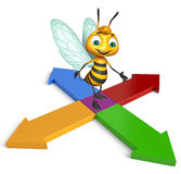 cute Bee cartoon character with arrow Royalty Free Stock Photo