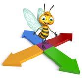 Cute Bee cartoon character with arrow Royalty Free Stock Photo