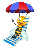 Cute Bee cartoon character with beach chair. 3d rendered illustration of Bee cartoon character with beach chair Royalty Free Stock Image