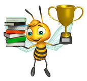 Cute Bee cartoon character with book stack and winning cup. 3d rendered illustration of Bee cartoon character with book stack and winning cup Stock Image