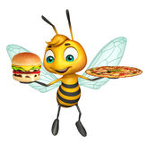 Cute Bee cartoon character with burger and pizza. 3d rendered illustration of Bee cartoon character with burger and pizza Stock Images