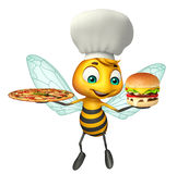 Cute Bee cartoon character with chef hat and pizza, burger. 3d rendered illustration of Bee cartoon character with chef hat and pizza, burger Royalty Free Stock Photography