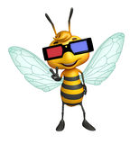 cute Bee cartoon character with 3D glasses Royalty Free Stock Image