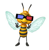 cute Bee cartoon character with 3D glasses Stock Image