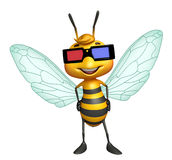cute Bee cartoon character with 3D glasses Stock Photo