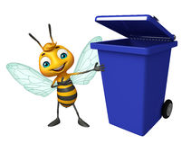 Cute Bee cartoon character with dustbin Royalty Free Stock Image