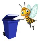 Cute Bee cartoon character with dustbin Stock Photos