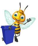 Cute Bee cartoon character with dustbin Royalty Free Stock Images