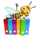 Cute Bee cartoon character with files. 3d rendered illustration of Bee cartoon character with files Stock Images