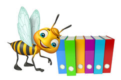 Cute Bee cartoon character with files. 3d rendered illustration of Bee cartoon character with files Stock Image