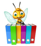 Cute Bee cartoon character with files. 3d rendered illustration of Bee cartoon character with files Royalty Free Stock Photography