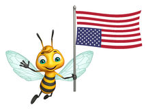 Cute Bee cartoon character with flag. 3d rendered illustration of Bee cartoon character with flag Stock Photos