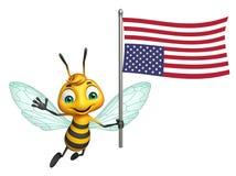 Cute Bee cartoon character with flag Stock Photos
