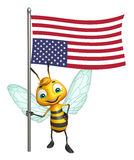 Cute Bee cartoon character with flag. 3d rendered illustration of Bee cartoon character with flag Royalty Free Stock Photo