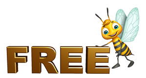 Cute  Bee cartoon character with free sign. 3d rendered illustration of Bee cartoon character with free sign Royalty Free Stock Photography