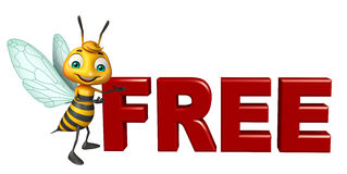 Cute  Bee cartoon character with free sign. 3d rendered illustration of Bee cartoon character with free sign Royalty Free Stock Photos