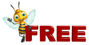 Cute  Bee cartoon character with free sign. 3d rendered illustration of Bee cartoon character with free sign Royalty Free Stock Images