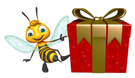 Cute Bee cartoon character with gift box Stock Images